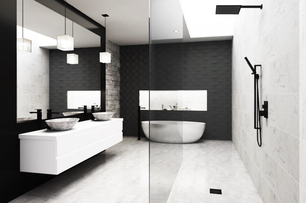 schwarzes Badezimmer